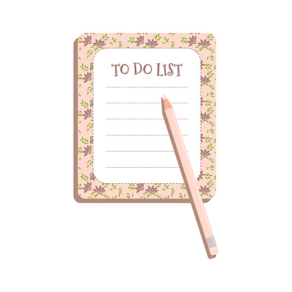 To-do list with floral pattern and pink pencil for glamour girls.Women planner for to-do list.Vector illustration.Sheet of planning or diary for ladies routine business for office or home or education