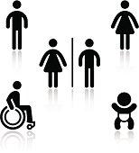 Toilet black set pictograms. Restroom Sign Icons