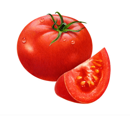 An illustration of a whole tomato with a wedge in front.