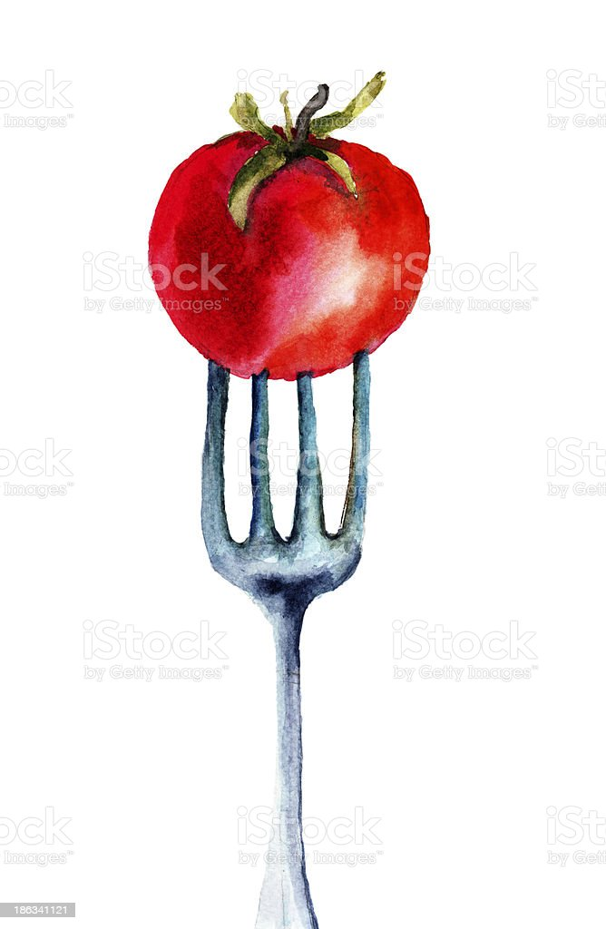 Tomato on the fork royalty-free stock vector art