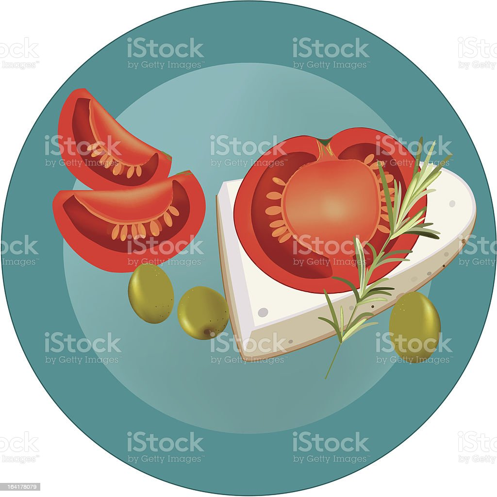 tomatoes and olives royalty-free stock vector art