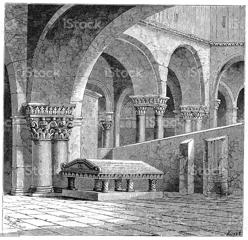 Tomb - Godfrey of Bouillon royalty-free stock vector art