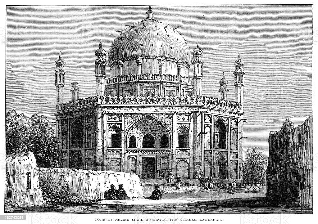 Tomb of Ahmed Shah - Kandahar royalty-free tomb of ahmed shah kandahar stock vector art & more images of 18th century