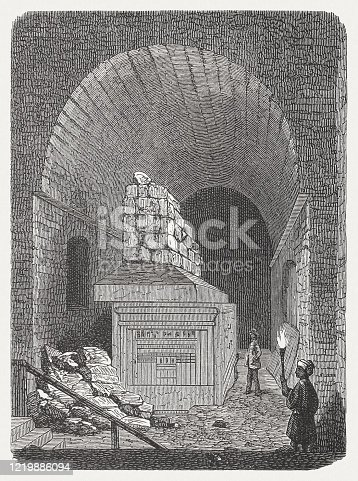 Historical view of a tomb of an Apis bull in the Serapeum of Memphis, Egypt. Wood engraving, published in 1893.