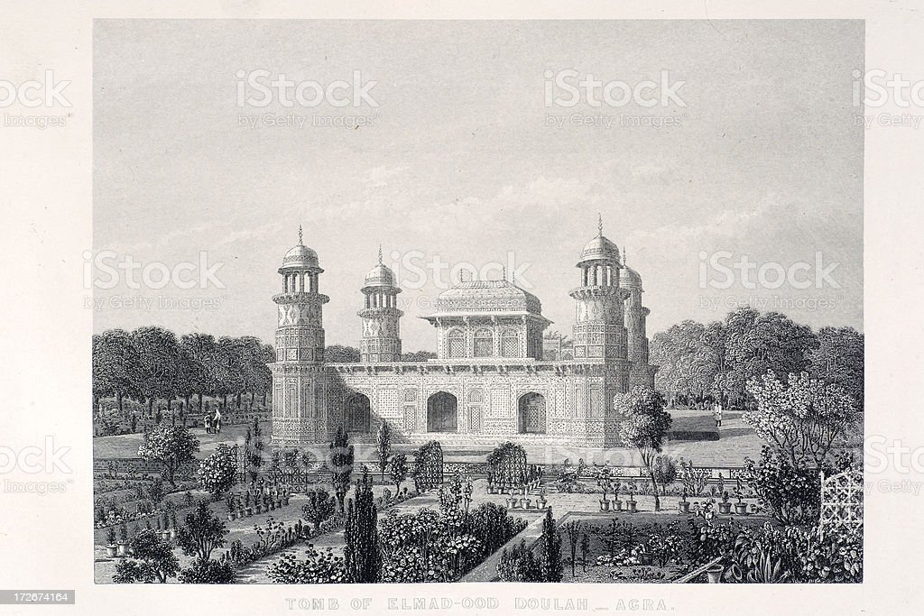 Tomb of Elmad-Ood Doulah royalty-free tomb of elmadood doulah stock vector art & more images of 1850-1859