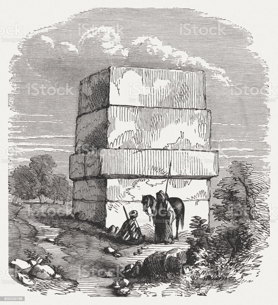 Tomb of Hiram of Tyre (999-935 BC), published in 1886 vector art illustration