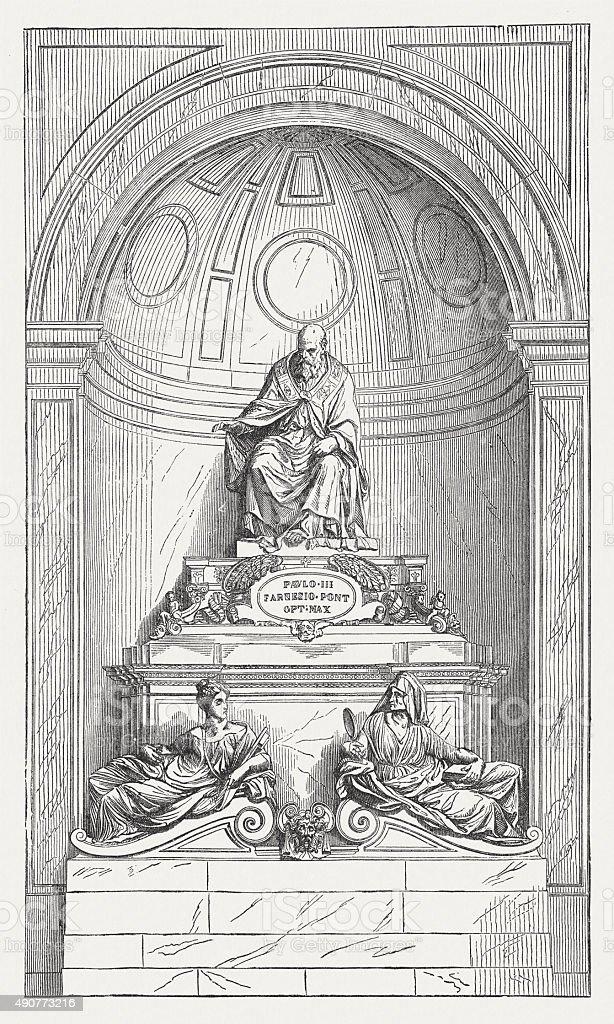 Tomb of Paul III by Guglielmo della Porta, published 1878 vector art illustration