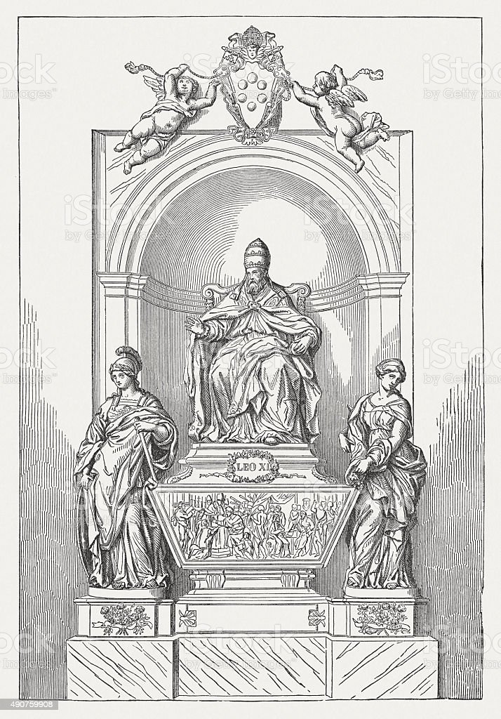 Tomb of Pope Leo XI by Alessandro Algardi , published 1878 vector art illustration