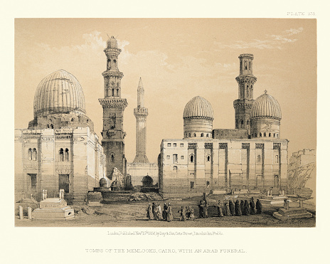 Tombs of the Memlooks, Cairo, with an Arab funeral