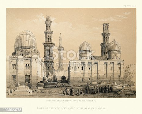 istock Tombs of the Memlooks, Cairo, with an Arab funeral 1295523766