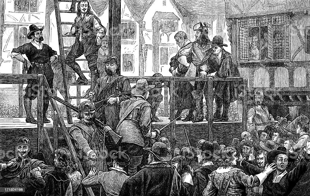 Tomkins and Challoner, led to gallows, Holborn, London, 1643 (illustration) vector art illustration