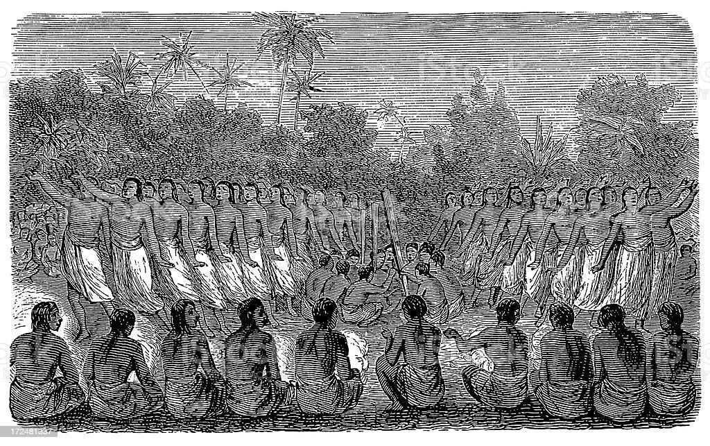 Tongan dance (antique wood engraving) royalty-free stock vector art