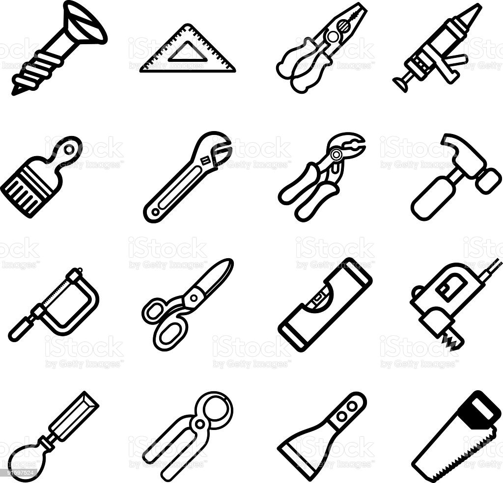 Tool icon series set royalty-free stock vector art