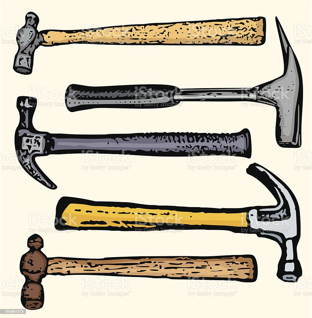 Tool Illustrations XIX: Hammers (Vector) royalty-free stock vector art