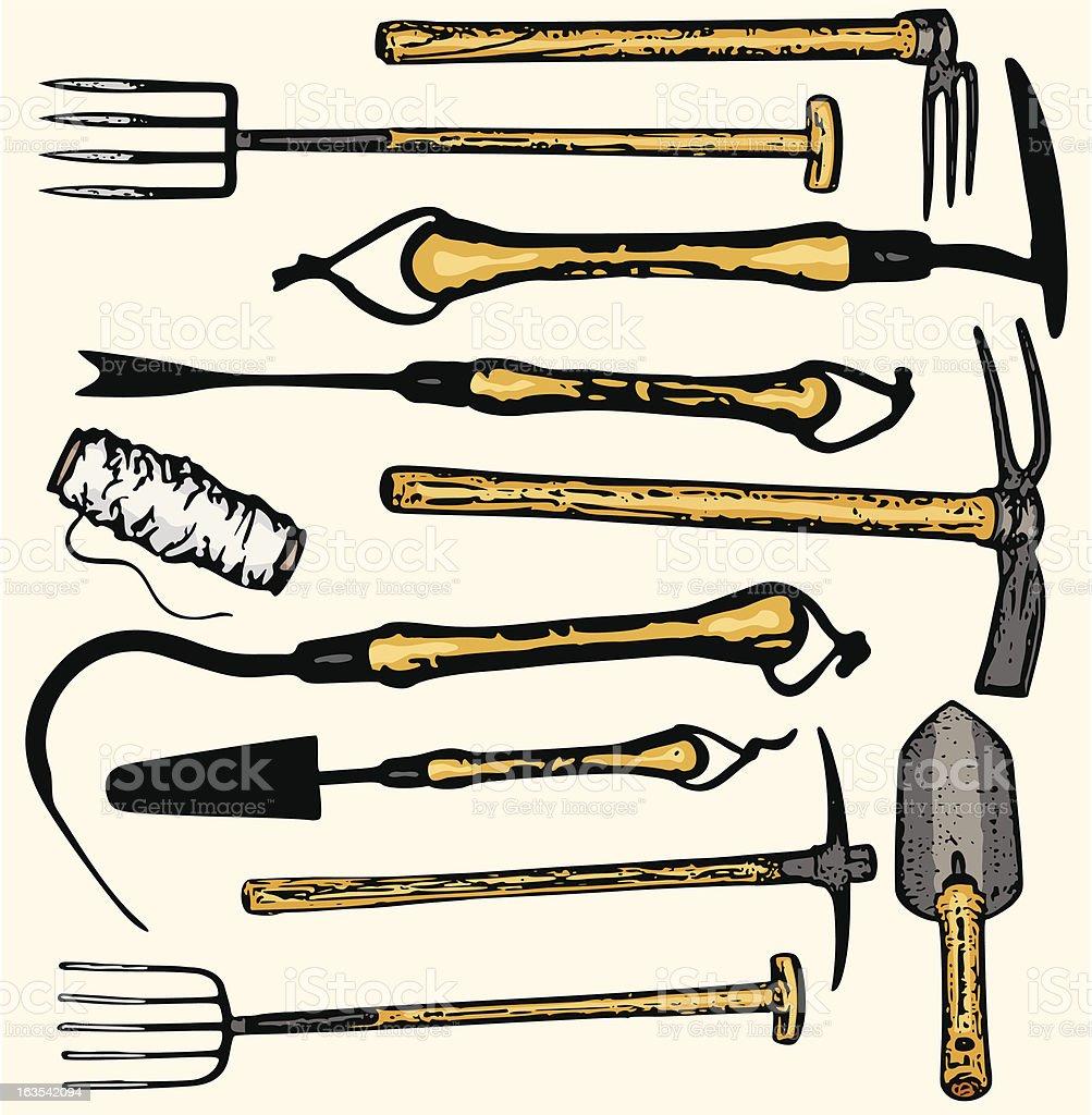 Tool Illustrations XV: Gardening Tools (Vector) royalty-free stock vector art