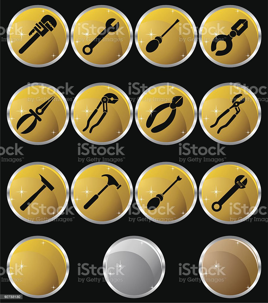 Tools Metal Round Set royalty-free stock vector art