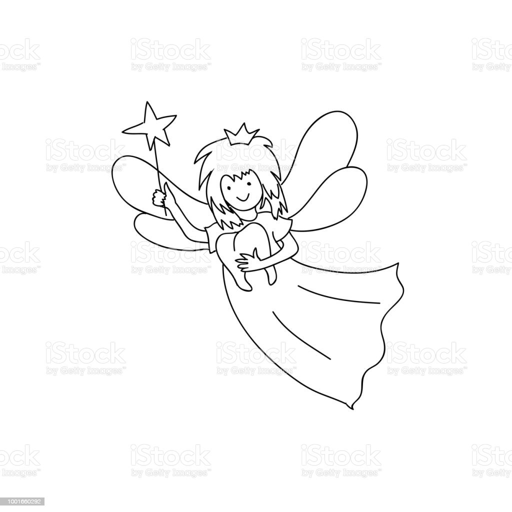 tooth fairy holding teeth children coloring page line art