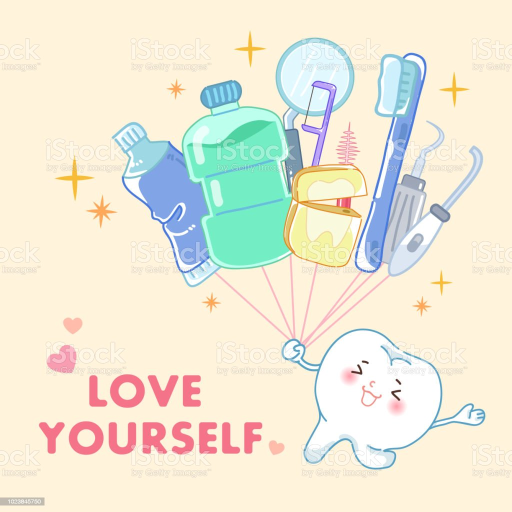 Tooth With Love Yourself Concept Stock Illustration