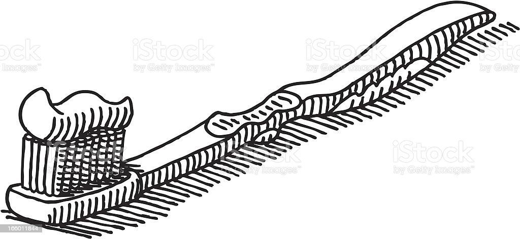 Toothbrush Drawing vector art illustration