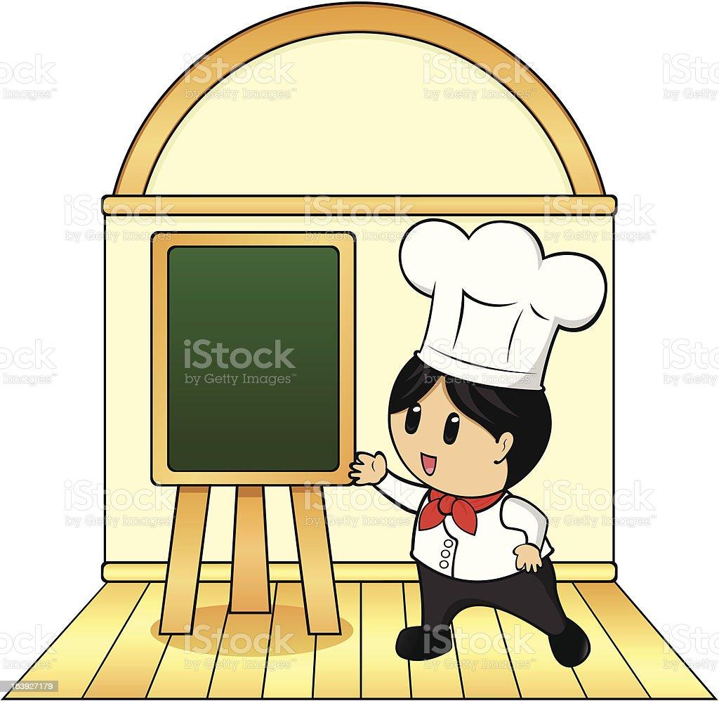 Top Chef  And Menu Board royalty-free stock vector art