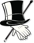 mens formal top hat cane and gloves