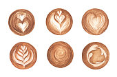 Set Latte Art , heart shape, latte art coffee isolated on white background. Top view of hot coffee cappuccino latte art foam. Watercolor illustration.