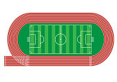 istock Top view of running track and soccer field on white background Vector illustration 850275950