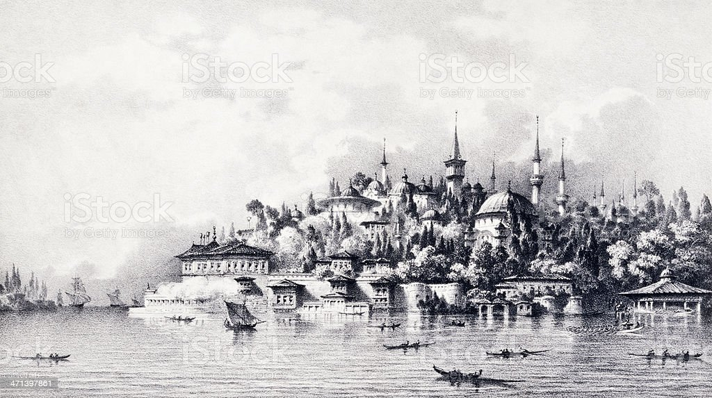 Topkapi Palace, Istanbul vector art illustration