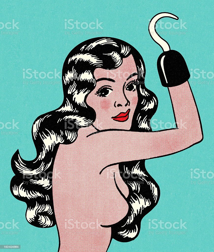 Topless Woman With Hook Hand royalty-free stock vector art