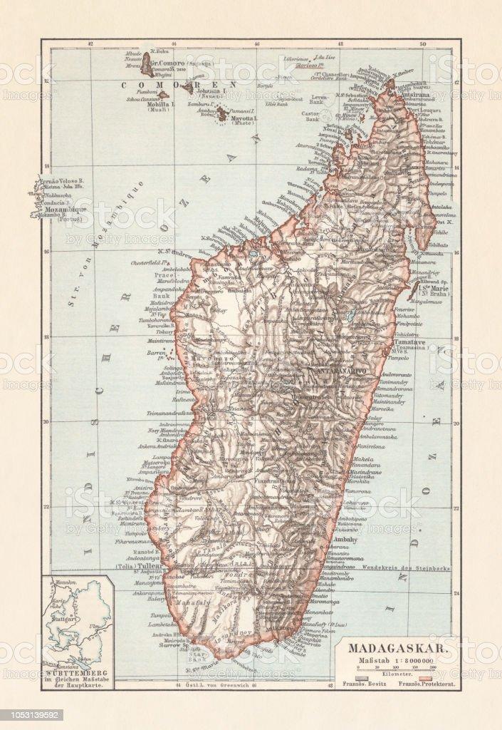 Carte Topographique De Madagascar.Carte Topographique De Madagascar Lithographie Publie En