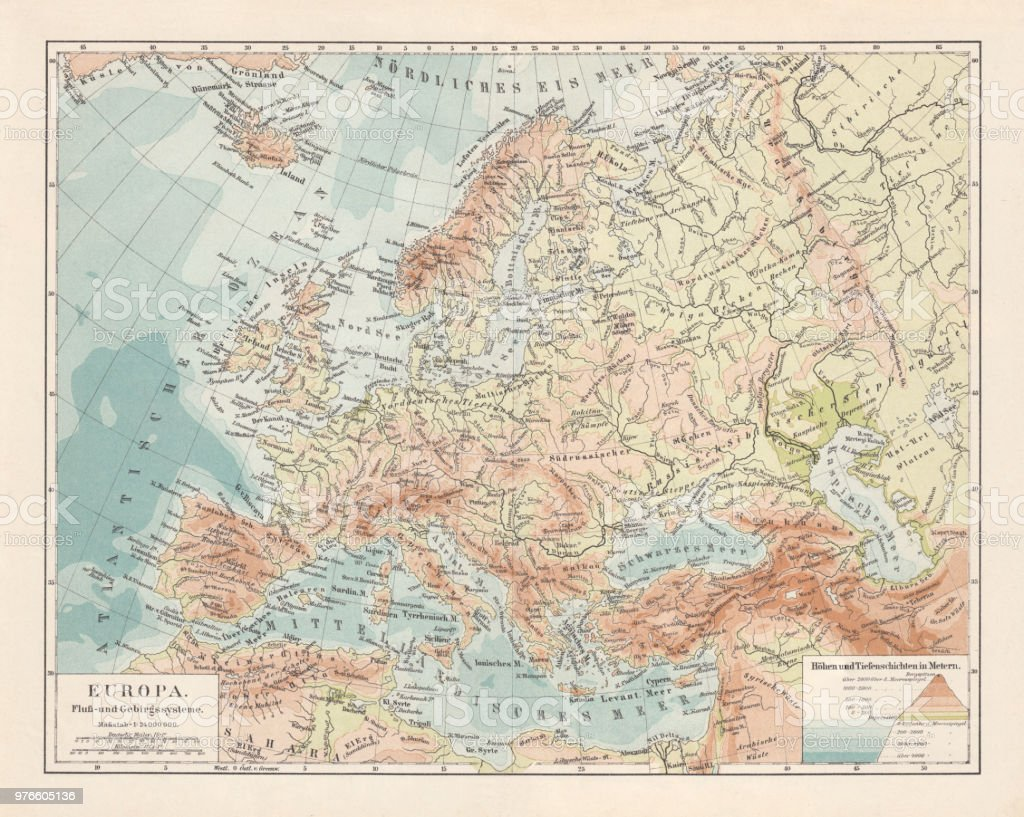 Topographic Map Of Europe Lithograph Published In 1897 Stock Vector