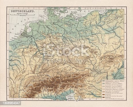Topographic map of Germany and former territories. Lithograph, published in 1893.