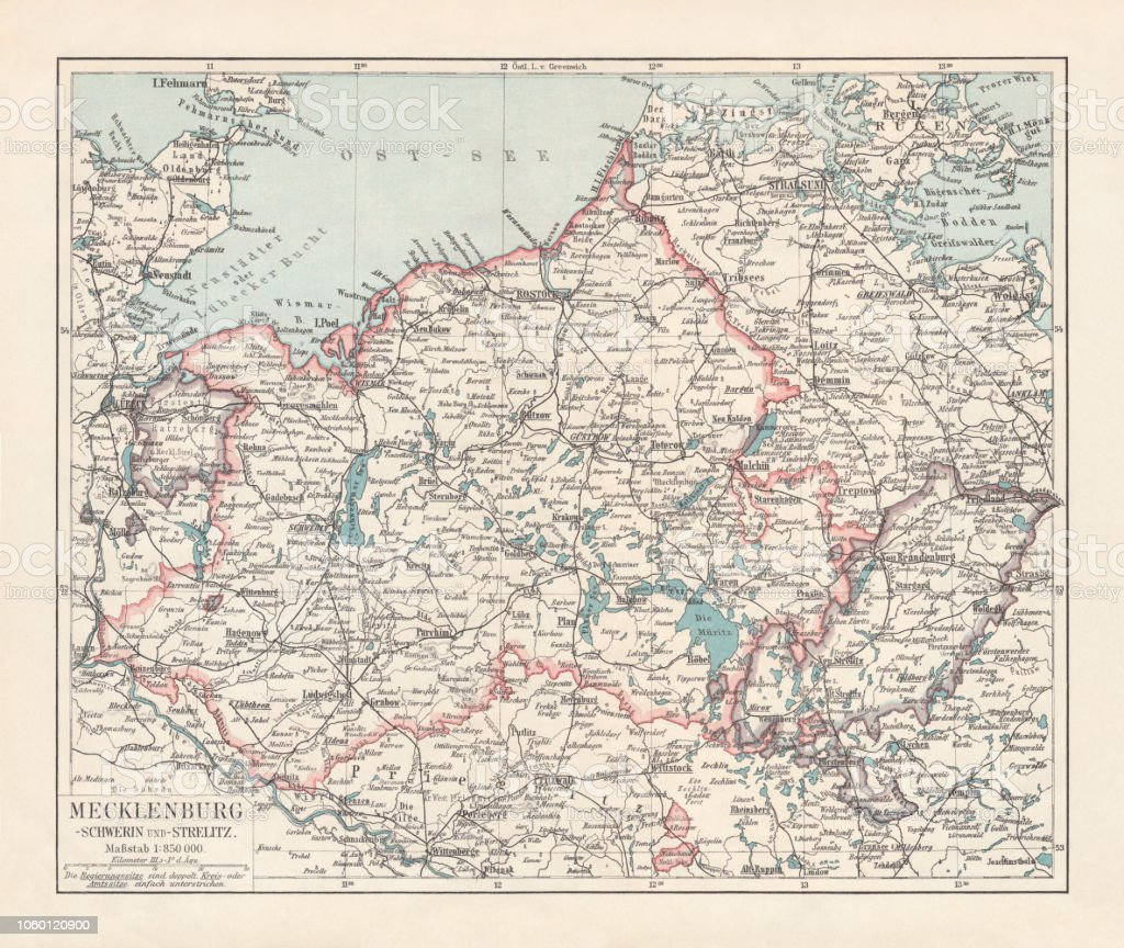 topographic map of mecklenburg germany lithograph published in 1897 stock illustration