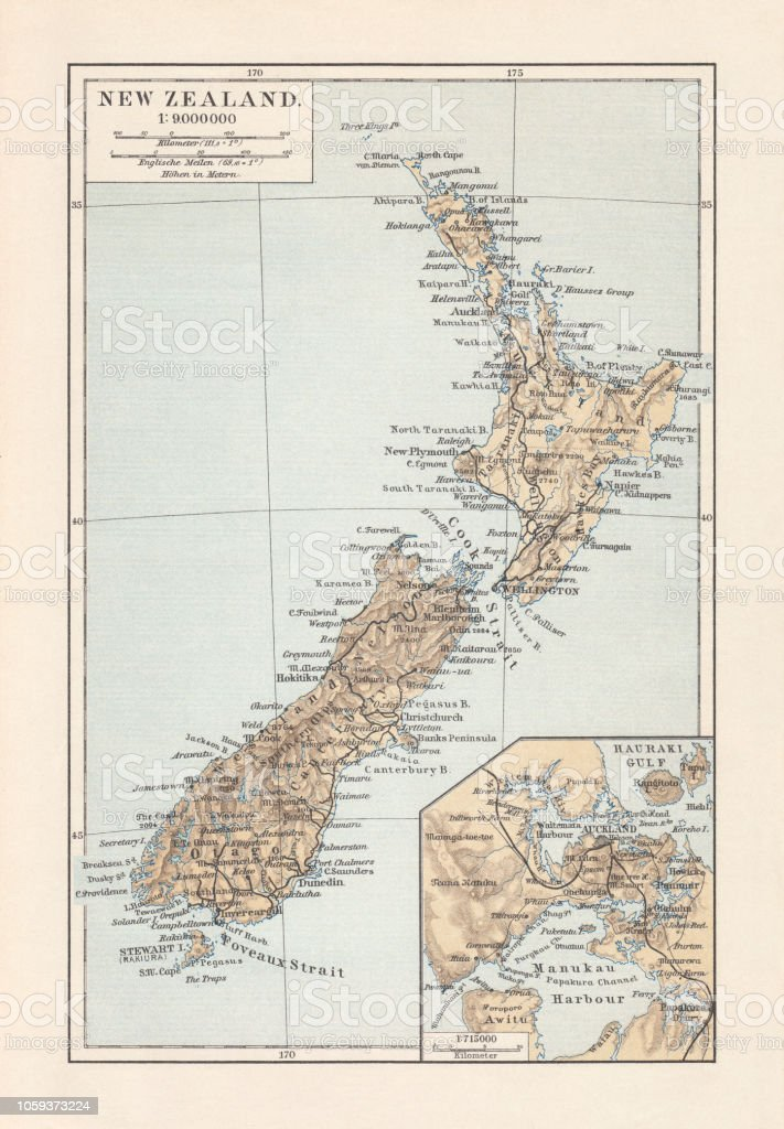 Topographic Map Of New Zealand.Topographic Map Of New Zealand Lithograph Published In 1897 Stock