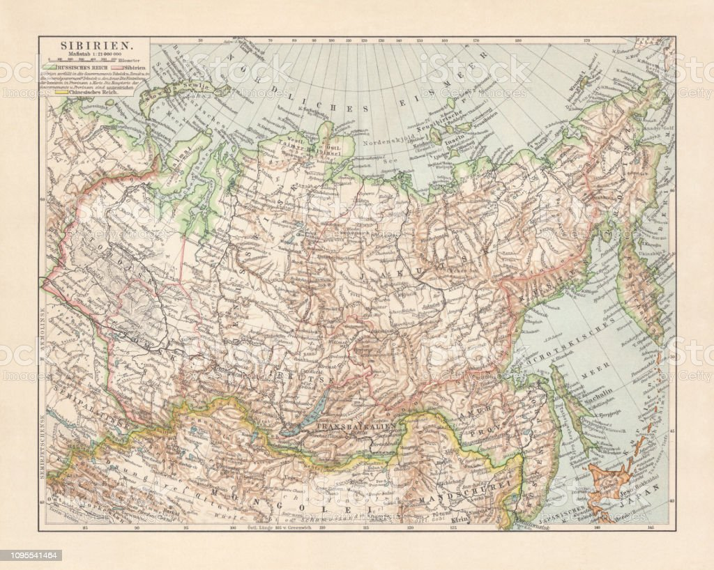 Topographic Map Of Siberia Russia Lithograph Published In