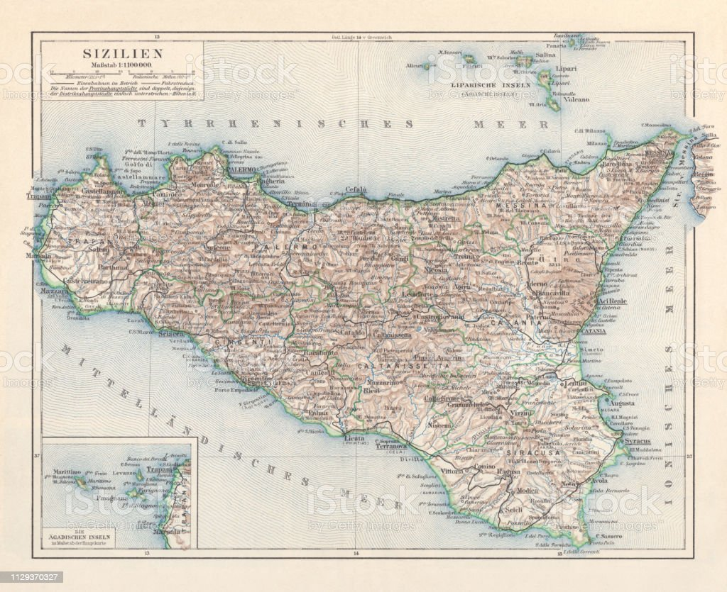 Sicily On Map Of Italy.Topographic Map Of Sicily Italy Lithograph Published In 1897 Stock