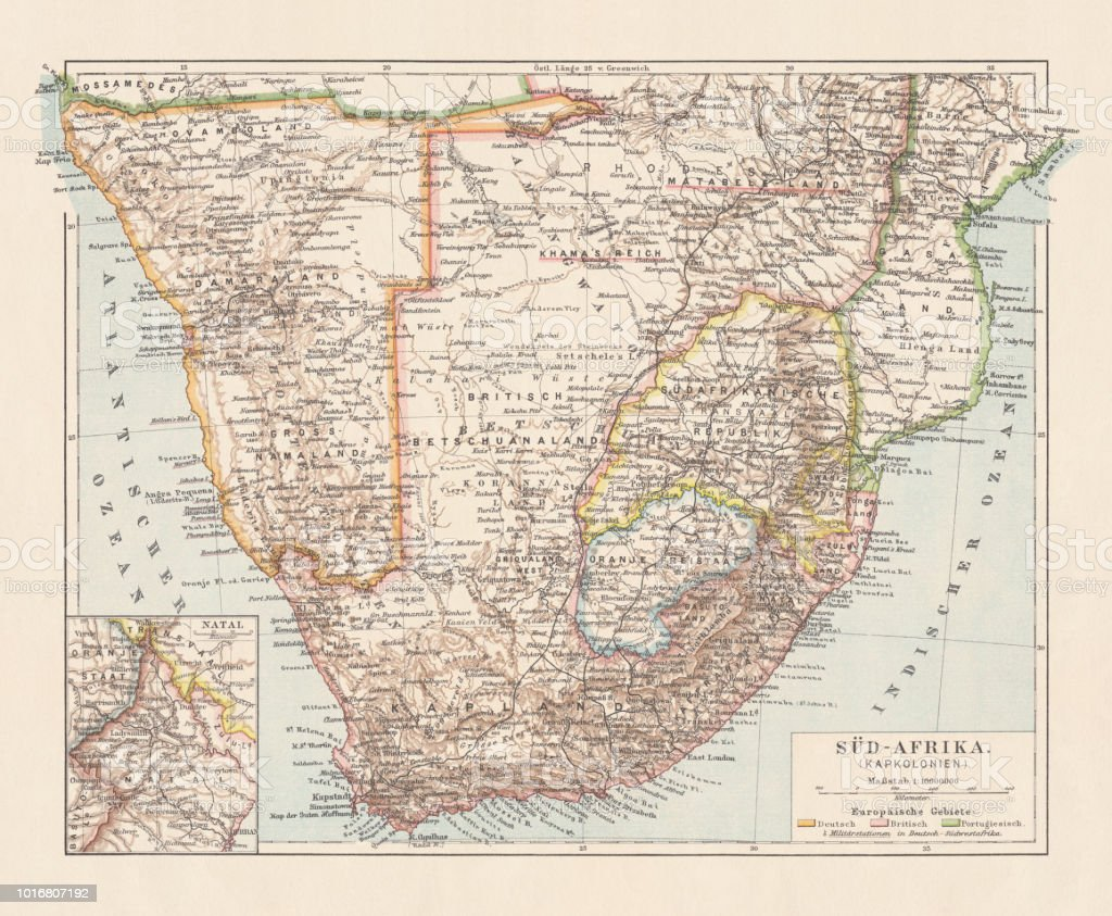 Topographic Map Of South Africa And Namibia Lithograph Published ...