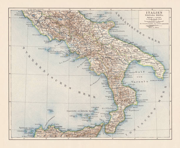 illustrazioni stock, clip art, cartoni animati e icone di tendenza di topographic map of southern italy, lithograph, published 1897 - calabria map