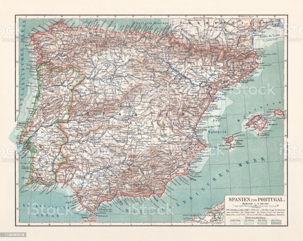 Karte Andalusien Portugal.Topographische Karte Von Spanien Und Portugal Lithographie
