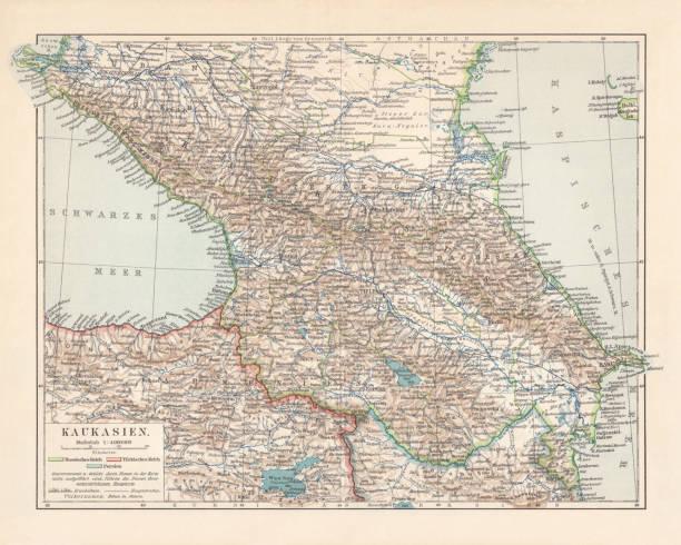 Topographic map of the Caucasus Region, lithograph, published in 1898 Historical topographic map of the Caucasus Region. Lithograph, published in 1898. azerbaijan stock illustrations