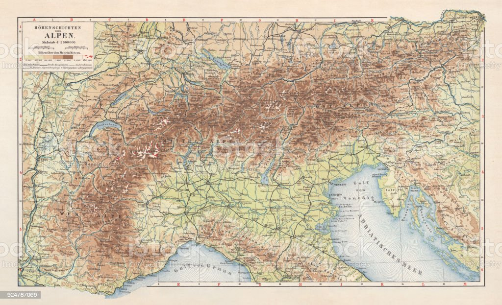 Topographic Map Of The European Alps Lithograph Published In 1897