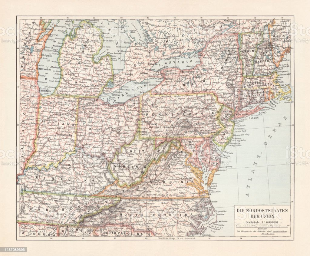 Topographic Map Of The Northeastern United States Lithograph ...