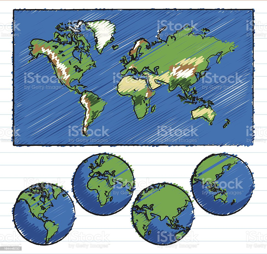 Topographic World Map And Globes Hand Drawn With Crayon Stock - World topography