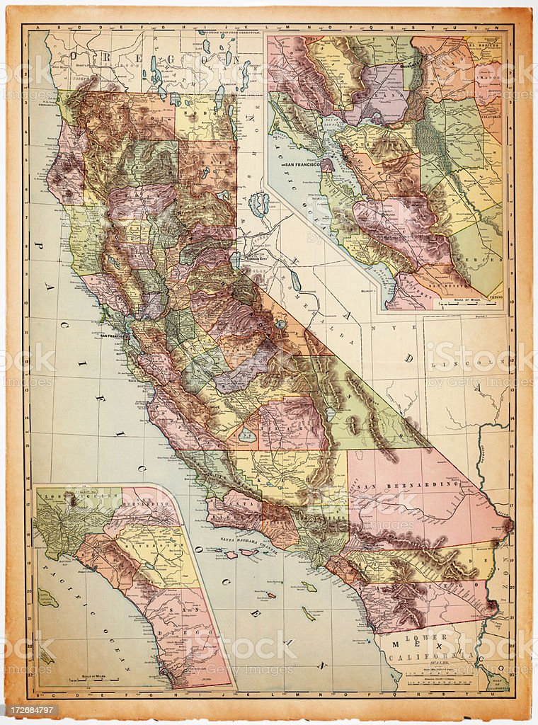 Topographical California map color coded by county vector art illustration