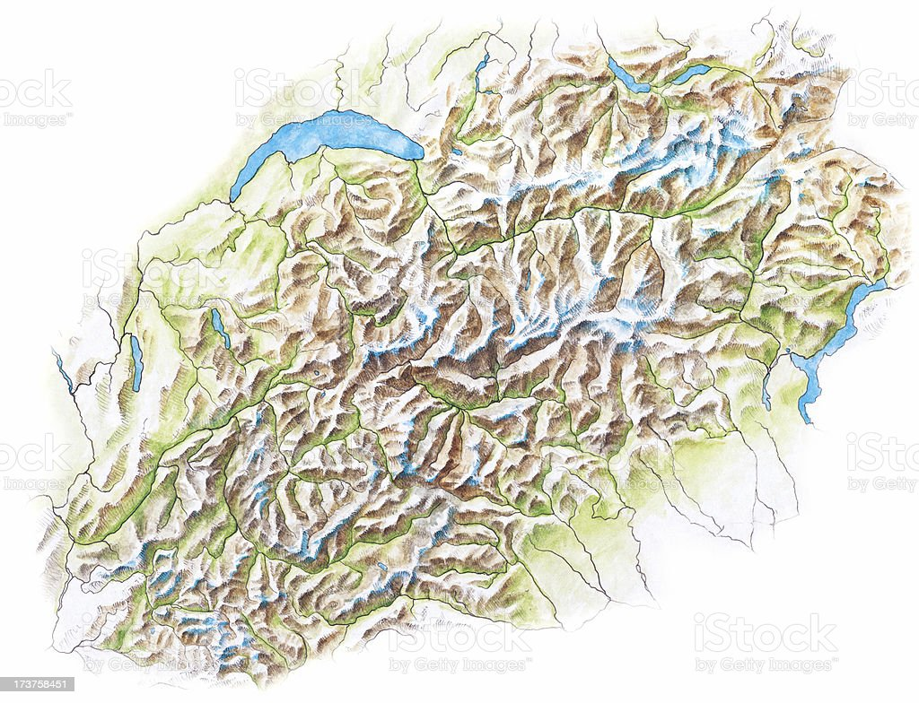 Topographical Map of the Alps - Hand Painted vector art illustration