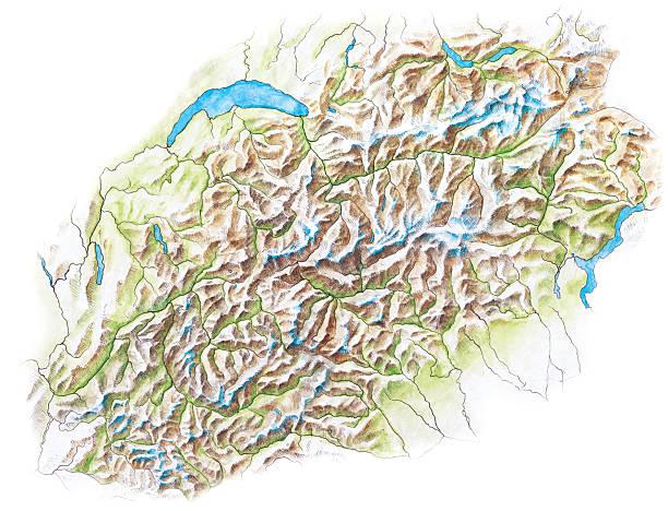 illustrazioni stock, clip art, cartoni animati e icone di tendenza di mappa topografica delle alpi-dipinti a mano - monte bianco