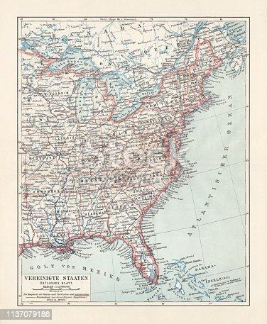 Topographical map of the United States of America, Eastern States. Lithograph, published in 1897.