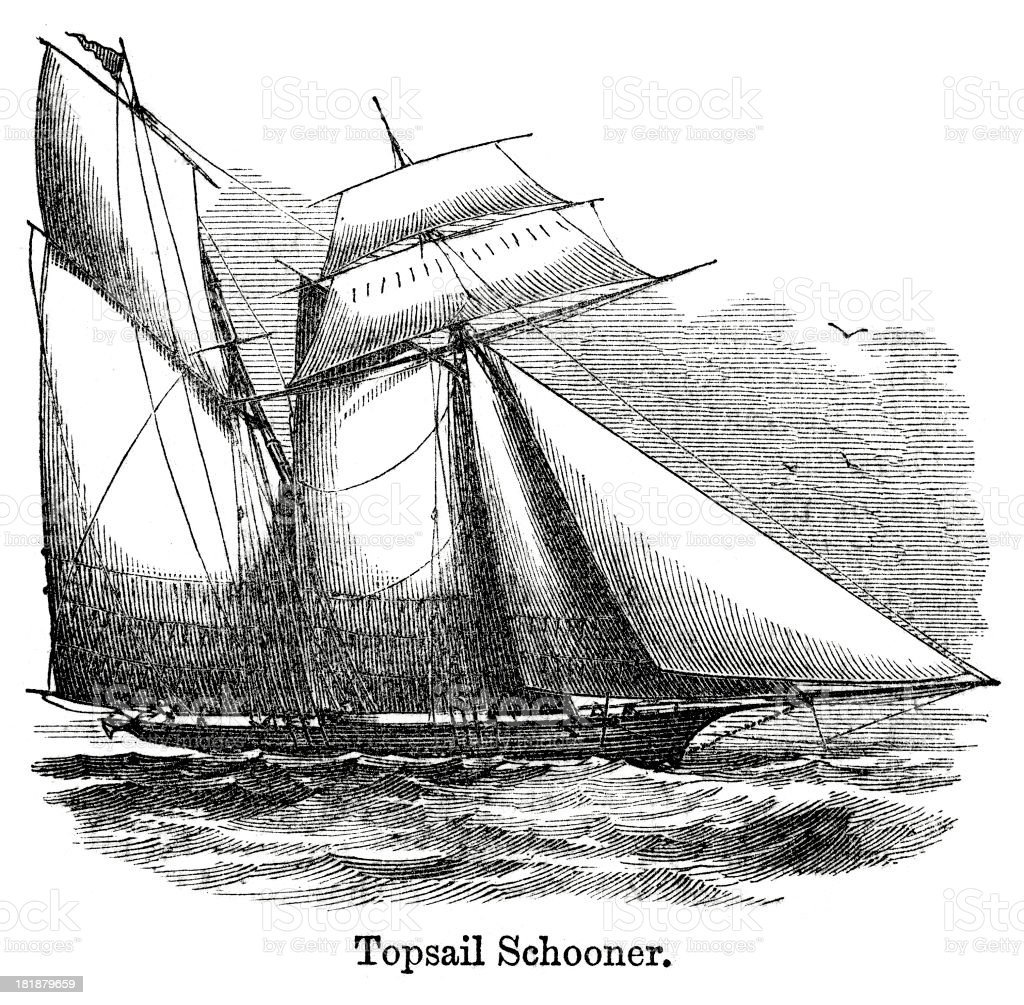 Topsail Schooner royalty-free stock vector art