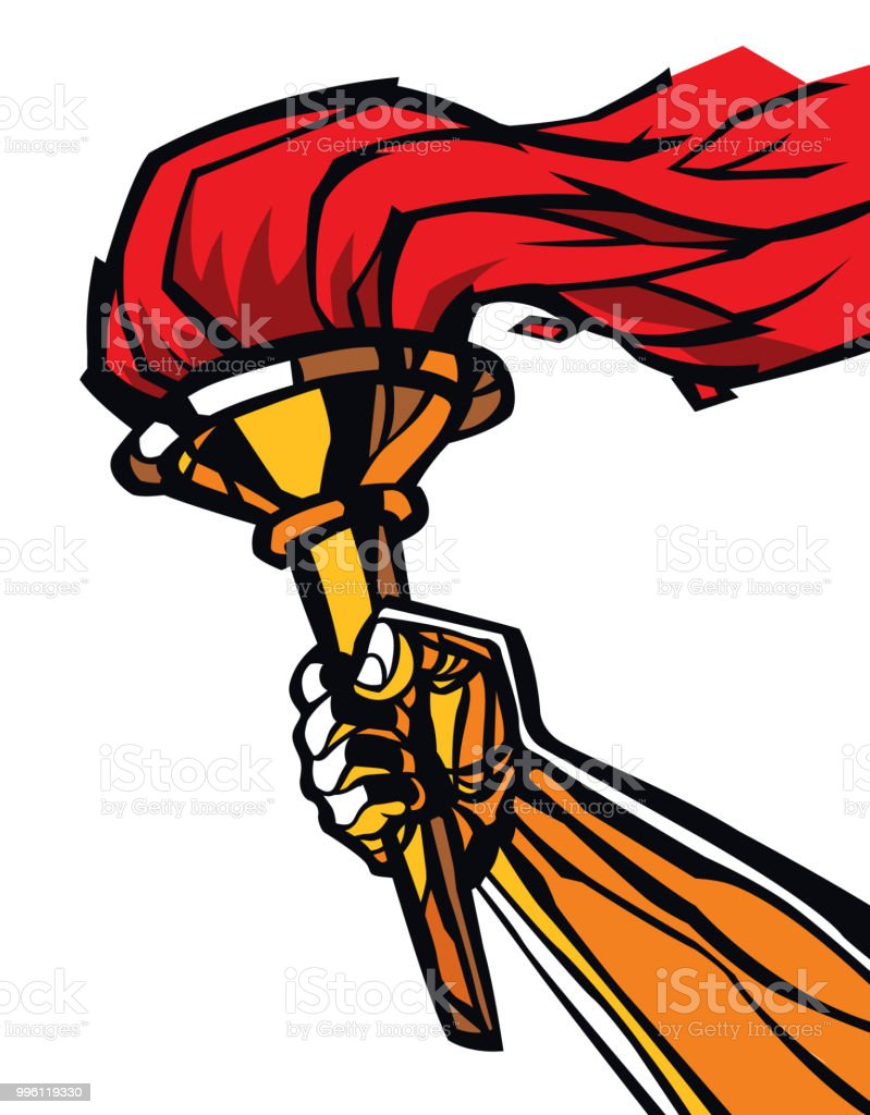 Torch in hand, flat illustration. Flat illustration. Image is...