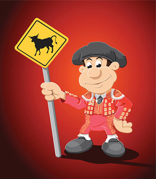 "Torero Cartoon Man Bull Sign ""Vector Illustration of a cartoon Torero, who is holding a traffic sign with a bull. The background is on a separate layer, so you can use the illustration on your own background. The colors in the .eps-file are ready for print (CMYK). Included files: EPS (v8) and Hi-Res JPG."" cartoon people sign stock illustrations"